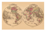 Johnson's World Map Prints by A.J. Johnson