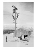 Line Crew at Work in Manzanar Print by Ansel Adams