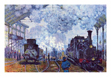 Saint Lazare Station in Paris, Arrival of a Train Pôsters por Claude Monet