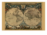New and Accurate Map of the World Premium Giclee Print by Joan Blaeu