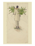 Negro Man Carrying Plantains on Pole Prints