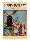 Dutch Girls Knitting Print by  Needlecraft Magazine