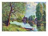 River Landscape at Moret-Sur-Loing Premium Giclee Print by Alfred Sisley