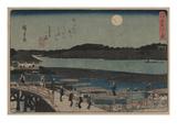 Moon over Sumida River. Prints by Ando Hiroshige