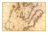 Portolan Map of Italy, Sicily, North Africa and the Mediterranean Prints by Battista Agnese