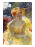 Lydia, the Arms Rested, in the Theater Loge Premium Giclee Print by Mary Cassatt