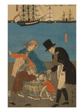 Dutch People Taking a Sunday Walk in Yokohama (Yokohama KyuJitsu - Orandajin YuKo) Posters by Sadahide Utagawa