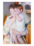 Baby on the Arm of Her Mother Poster by Mary Cassatt