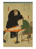 Foreigners in Yokohama Draw Up Contract in Mercantile House Prints by Sadahide Utagawa