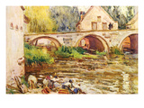 The Laundresses by Moret by Alfred Sisley.Jpg Prints by Alfred Sisley
