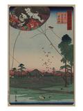 Distant View of Akiba of Enshu: Kites of Fukuroi (Enshu Akiba Enkei Fukuroi No Tako) Prints by Ando Hiroshige