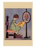 Pre-Teen Cross-Stitches a Fabric Print by  Needlecraft Magazine