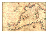 Portolan or Navigational Map of the Western Mediterranean from Gibraltar to Piedmont and Sardinia Affiches par Battista Agnese