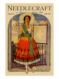 Hispanic Holds Up a Lace Design on a Frame Posters by  Needlecraft Magazine