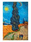 Road with Cypresses Schilderij van Vincent van Gogh