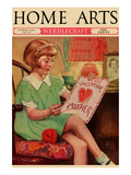 Little Girl Sews a Valentine Posters by  Home Arts