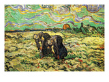 Two Peasant Women Digging in Field with Snow Posters by Vincent van Gogh