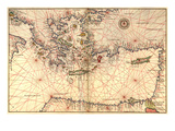 Portolan or Navigational Map of Greece, the Mediterranean and the Levant Plakater af Battista Agnese