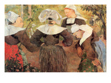 The Dance of 4 Women of Breton Premium Giclee Print by Paul Gauguin
