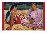 Tahitian Women on Beach Premium Giclee Print by Paul Gauguin