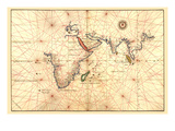 Portolan Map of Africa, the Indian Ocean and the Indian Subcontinent Print by Battista Agnese