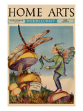 Sprite Needs His Socks Darned by a Dragonfly Who Is Sitting on a Mushroom Art by  Home Arts