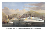 American Steamboats on the Hudson: Passing the Highlands Art by  Currier & Ives