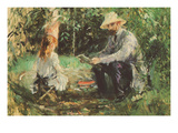 Eugène Manet and His Daughter in the Garden Premium Giclee Print by Berthe Morisot