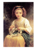 Child Braiding a Crown Poster by William Adolphe Bouguereau