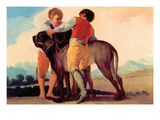 Boys with Blood Dogs Print by Francisco de Goya