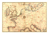 Portolan Map of Spain, England, France, Germany, the British Isles Prints by Battista Agnese
