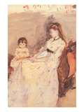 Edma, the Sister of the Artist with Her Daughter Prints by Berthe Morisot