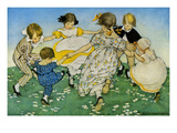 Girls in Circle - Ring around the Rosie Premium Giclee Print by Jesse Willcox Smith