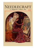 Medieval Girl Sews a Tapestry Posters by  Needlecraft Magazine
