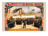 Stage Play of Dewey with His Sailors in Front of Battleship Olympia Posters