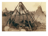 Home of Mrs. American Horse. Visiting Squaws at Mrs. A's Home in Hostile Camp Prints by John C.H. Grabill