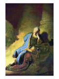Jeremiah Mourning over the Destruction of Jerusalem Art by  Rembrandt van Rijn