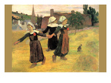 Small Breton Women Premium Giclee Print by Paul Gauguin