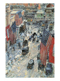 Flags on Fifth Avenue, Winter 1918 Premium Giclee Print by Childe Hassam