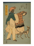 French Girl Taking Walk with Dog (Furansu Komusume Inu O Hikite Sampo No Zu) Poster by Sadahide Utagawa