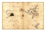 Portolan Map of Western Hemisphere Showing What Will Become the US, Panama and South America Poster par Battista Agnese