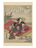 Blossoming Plants under an Autumn Moon Prints by Suzuki Harunobu
