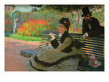 Camille Monet on a Garden Bench Art by Claude Monet