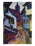 Street with a Church in Kinder Giclee-tryk i høj kvalitet af Auguste Macke