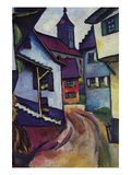 Street with a Church in Kinder Premium Giclee Print by Auguste Macke