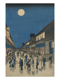 Full Moon over a Crowded Street Prints