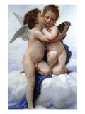First Kiss Print by William Adolphe Bouguereau