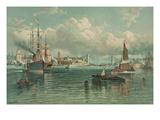 View of New York Harbor with Brooklyn Bridge in Background Prints