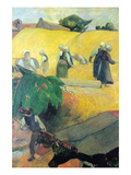 Harvest in Brittany Premium Giclee Print by Paul Gauguin
