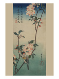 Small Bird on a Branch of Kaidozakura. Print by Ando Hiroshige